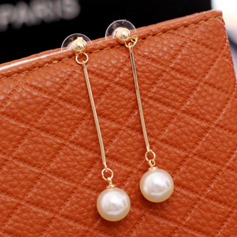 Hot Fashion Simulated-pearl Drop Earrings Gold Long Dangle Metal Rod Statement Earrings For Women Jewelry Wholesale