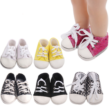 18 inch Girls doll shoes Canvas Sport shoe Sneaker American new born accessories Baby toys fit 43 cm baby s44