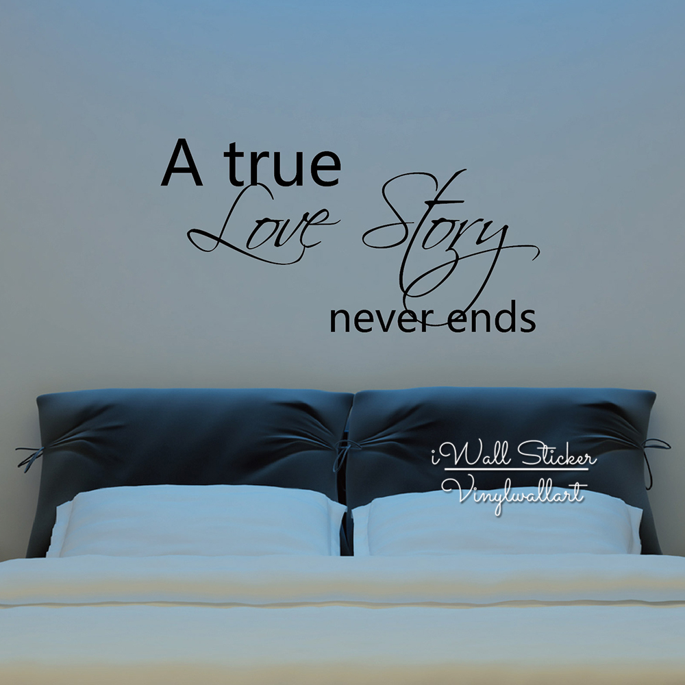 A True Love Story Never Ends Quote: Love Quote Wall Sticker Creative Love Quote Wall Decals A
