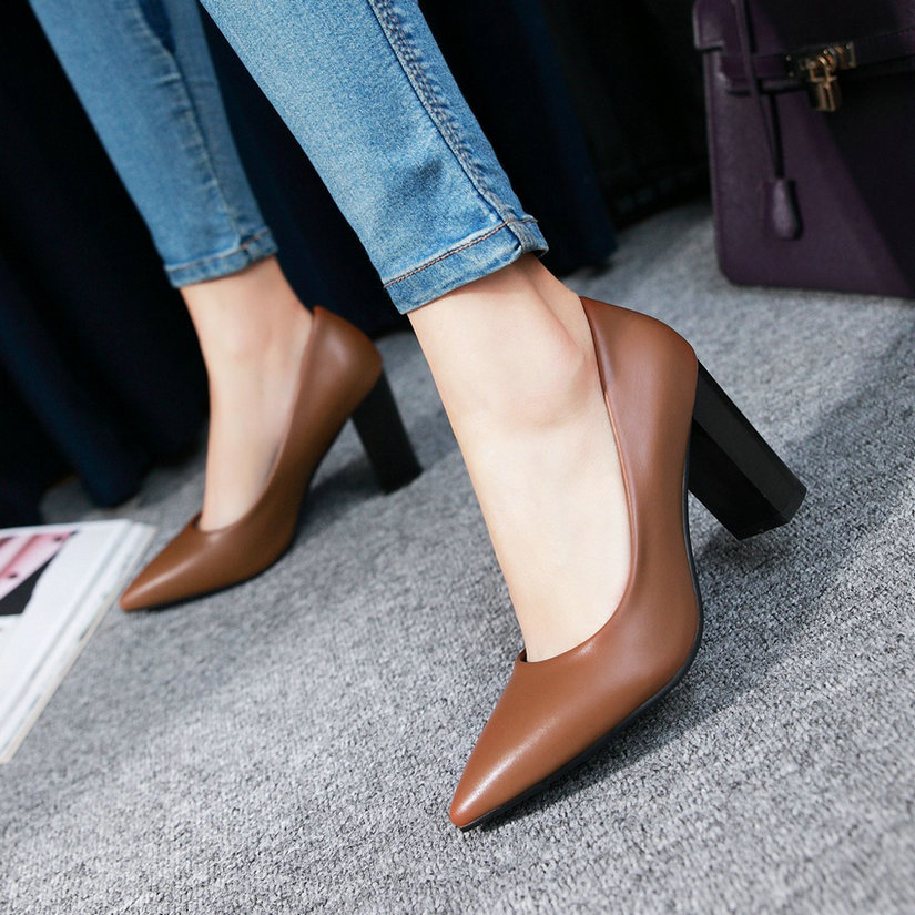 Brown Fashion  2017 Women Pumps Pointed Toe Spring Autumn OL Shoes Square High Heel Women Shoes Lady Wedding Shoes Size 34-43
