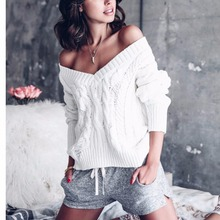 2017 Womne's Solid Color V Neck Cable Knit Loose Type Hollow Ripped Off the Shoulder Knitted Sweater for Autumn Winter Sep12