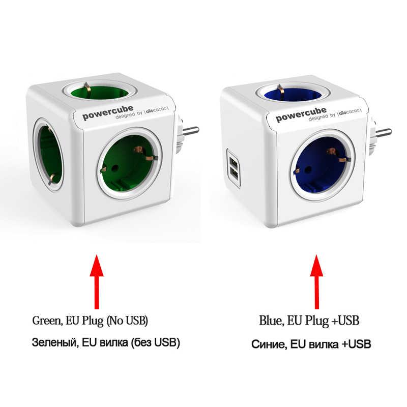 Allocacoc listwa zasilająca ue inteligentne gniazdo wtyczka podróżna adapter Powercube elektryczny 2 USB 4 gniazda rozszerzenie wielu 3680W ładowania W domu