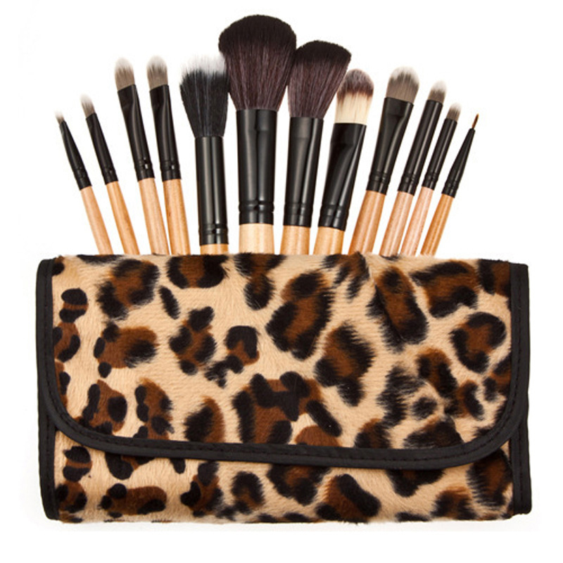 High Quality 12 Pcs Professional Leopard Makeup Brushes Set Tools Brand New Women Face Care Beauty Styling Tools Make Up Brush 5 pcs blue hot high quality professional makeup brush set makeup kit for face care free ship