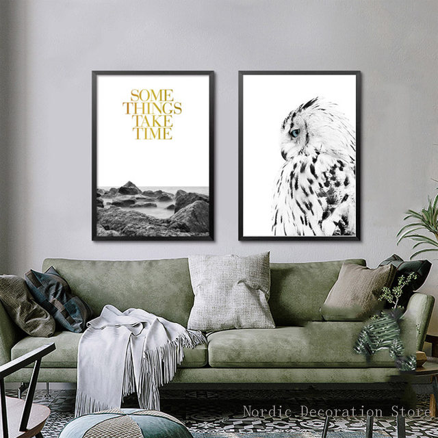 online shop wall art green forest poster black and white owl canvas