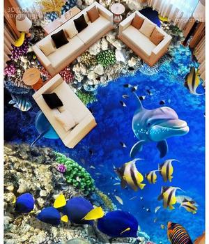 Foto personalizada suelo impermeable papel pintado mar mundo delfín corales 3d mural PVC papel pintado auto-adhesivo suelo pared