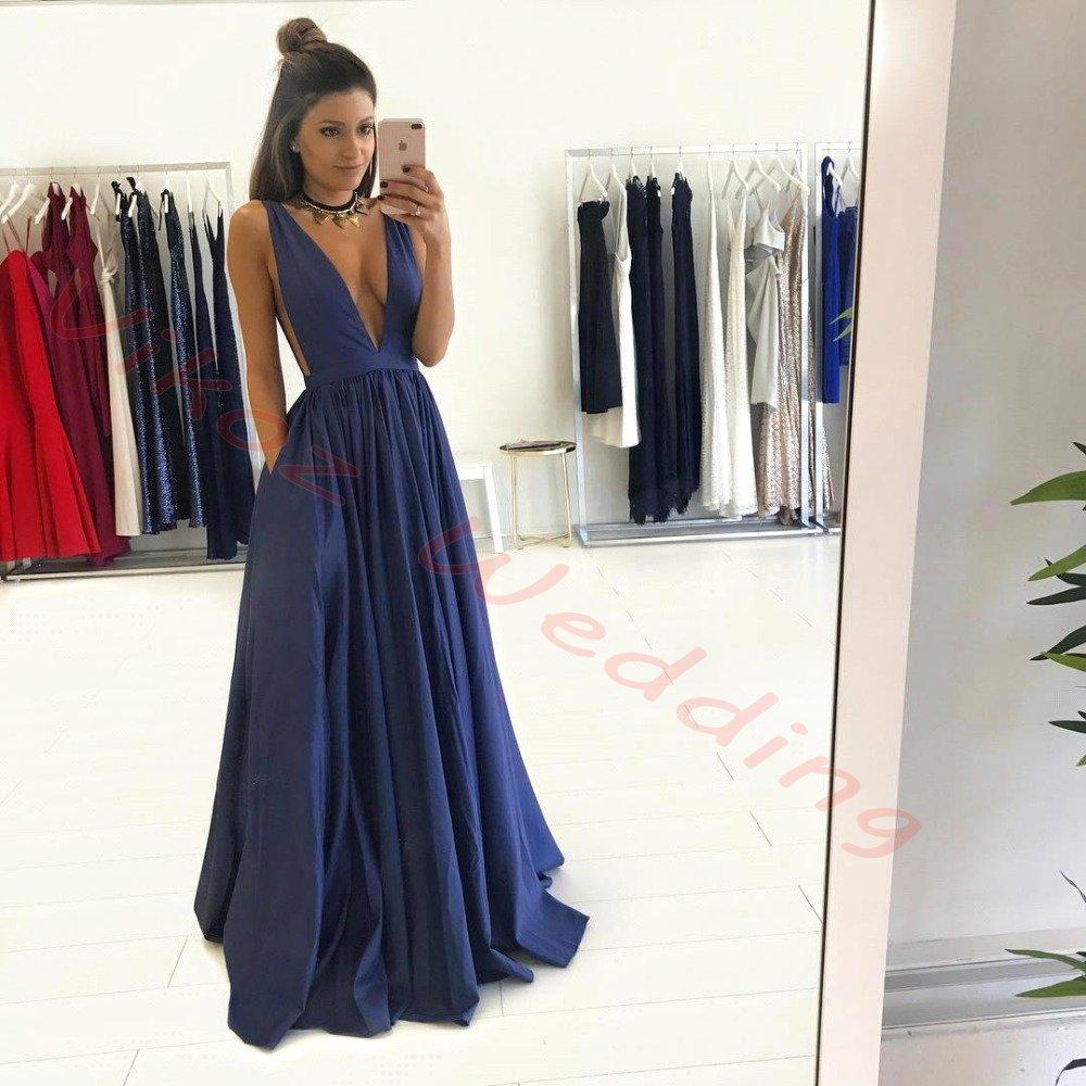 Black dress under graduation gown - Sexy Sleeveless Deep V Neck A Line Long Evening Dress Cheap Party Gown Satin