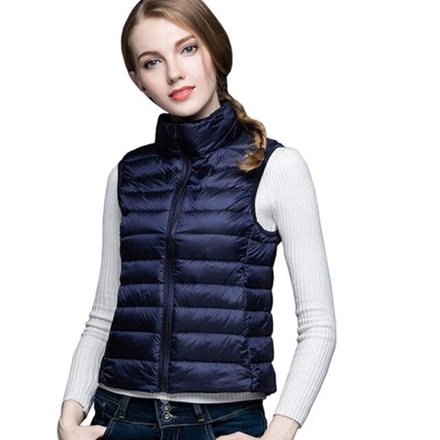 74ee1493e1eba Warm Slim Ultra Light White Duck Down Vest Fashion Women Sleeveless Puffer  Coat Plus Size Winter Stand Collar Ultralight WFY135