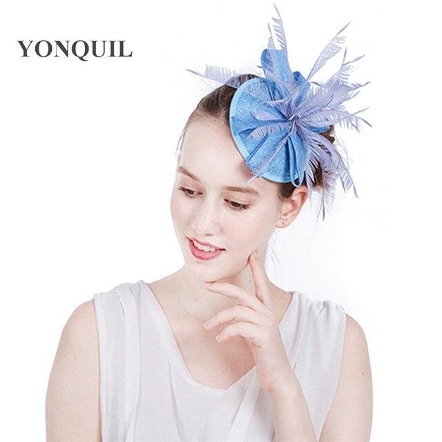 b6b0ec2622c Imitation sinamay fascinator base hat with fether and hair clips elegant  women wedding light blue solid
