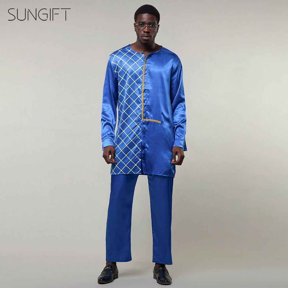 SUNGIFT africain traditionnel mâle haut à manches longues haut Dashiki Tribal grande taille mâle vêtements africain hommes vêtements (2 pièces 1 ensemble)