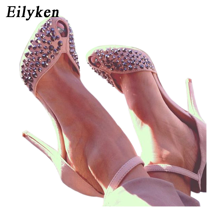 Eilyken Women High Heels Design Rivet Stiletto Pumps Sexy Lady Peep Toe Sandals Strap Buckle Princess Party Shoes women s sexy stiletto heels w rivet party shoes khaki golden 36