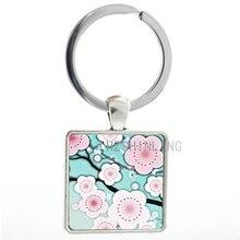 Fashion women charms jewelry Sakura Flowers keychain beautiful cute painting art Sakura Flowers key chain ring holder AA139