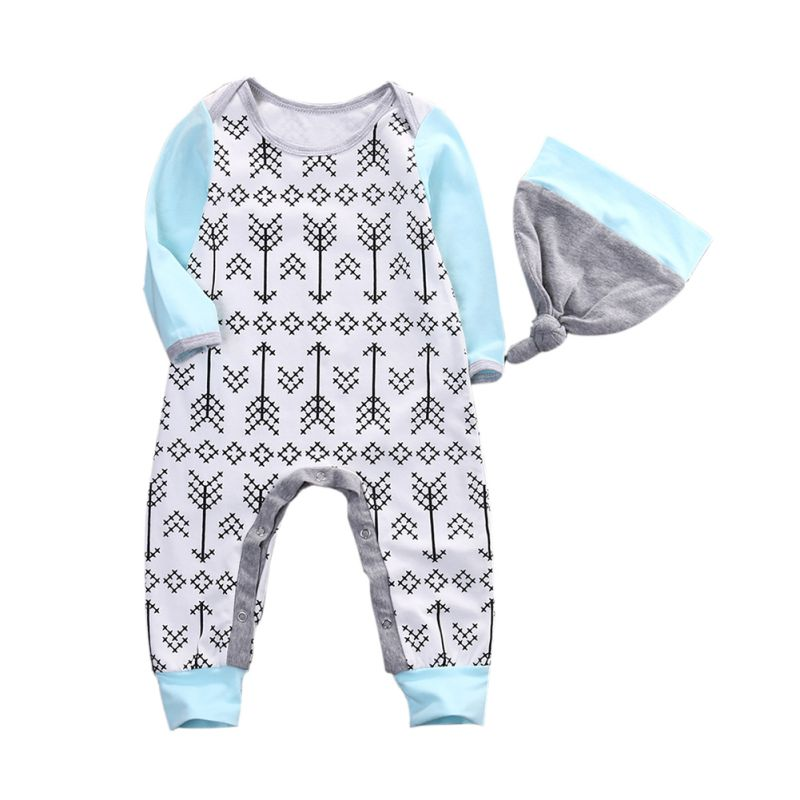 Newborn Baby Pullover Clothing Set Infant Kids Sets Romper Hat+Jumpsuit Outfit  2PCS 2017 summer newborn infant baby girls clothing set crown pattern romper bodysuit printed pants outfit 2pcs