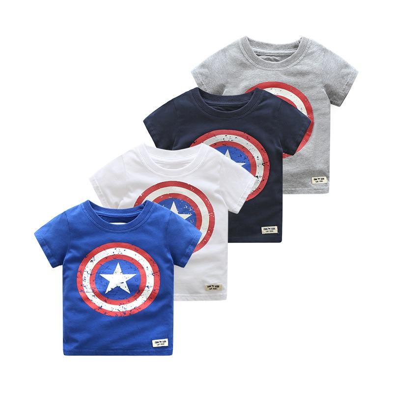 2018 Estate Bambini Ragazzi Manica Corta Magliette Di Cotone Maglietta Captain America Neonato Supera Tee Shirt Bambini Abbigliamento Diversificato Nell'Imballaggio