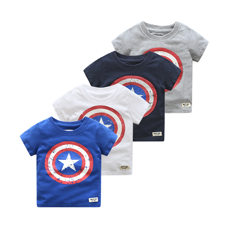 2018 Summer Kids Boys Short Sleeve T Shirts Cotton Captain America T Shirt Baby Boy Tops Tee Shirt Children Clothing