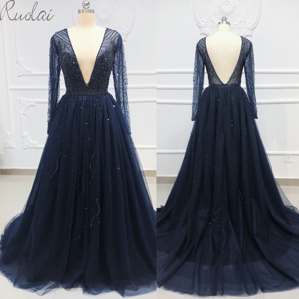 2019 New heavy beads decoration deep v neck and back   Evening   Gown for Women A-Line   Evening     dress   robe de soiree