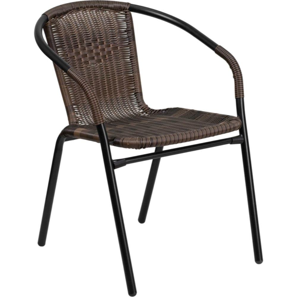 Dark Brown Rattan Stack Chair Black, Brown dg home кресло egg chair dark brown