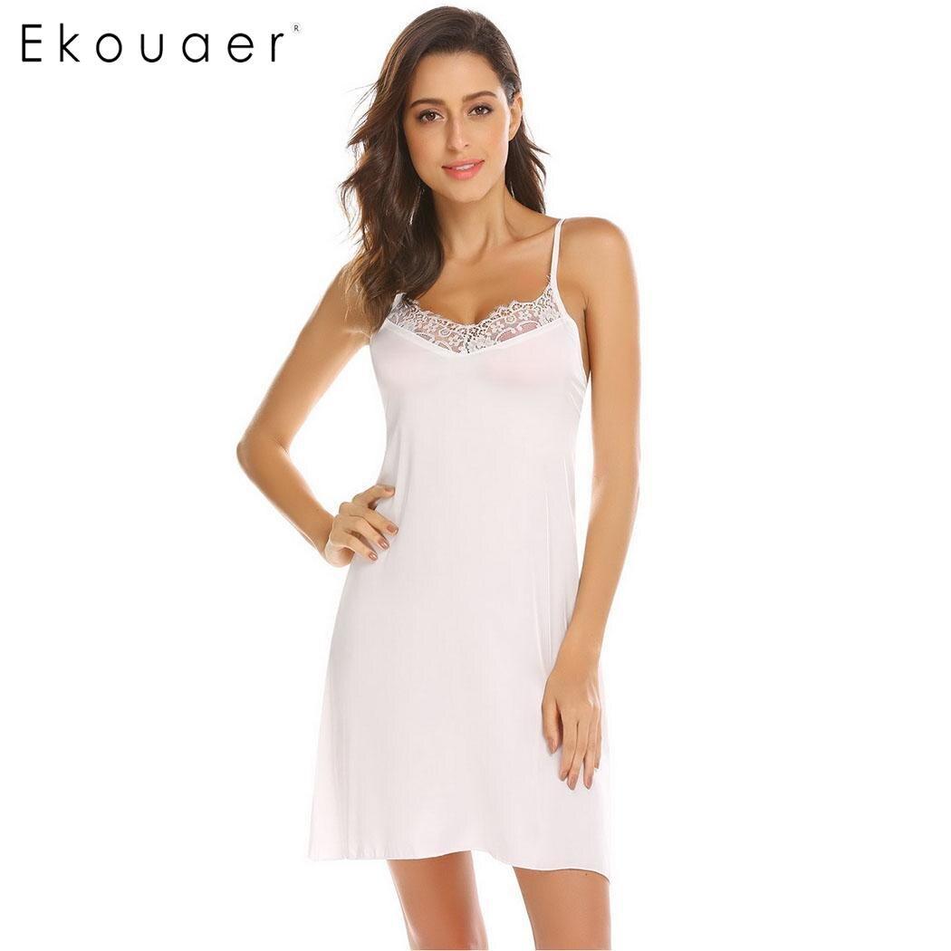 ... Chemise Nightdress Casual Satin Lace Trim Nightwear Slip V Neck Night  Dress Female Sexy  Ekouear Womens Sleeveless Tank Top Nightgown Cotton  Sleepwear ... 57c61b5d9