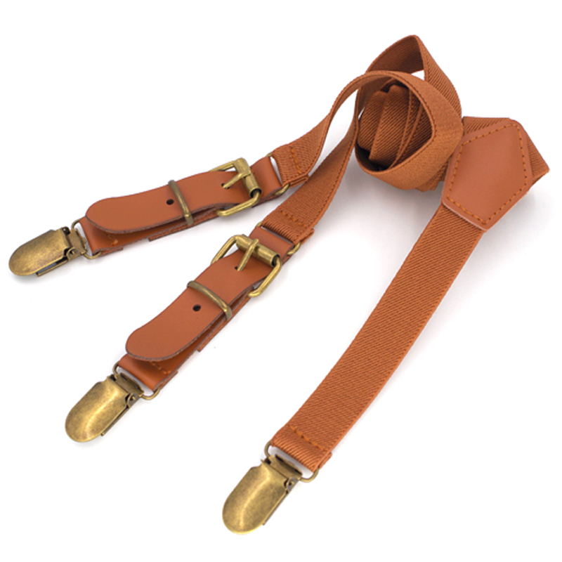 New Leather Suspenders Fashion Kids Braces Strong 3Clips Trousers Student Suspensorio Elastic Strap Size 2.5*70cm Free Shipping