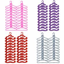 20 Pcs / Lot Cute Mini Mixed Plastic Pink Hangers Dolls Accessories For Barbie Doll Wardrobe Dress Clothes Dollhouse Toy Gift(China)