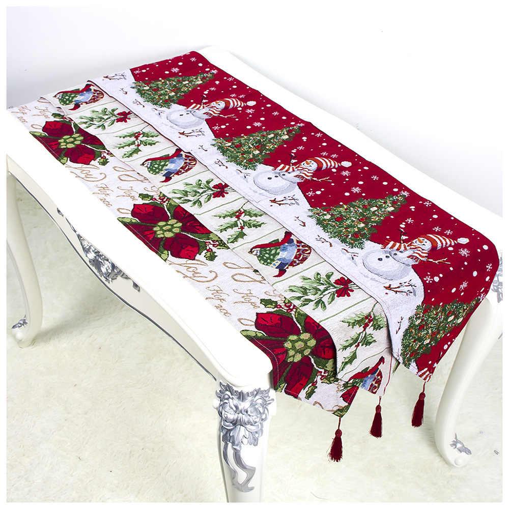 34x180 см Рождественская Скатерть Коврик Скатерть Рождественский флаг Санта Рождественские ГОБЕЛЕНЫ КРАСНЫЙ настольный бегун s домашний декоративный