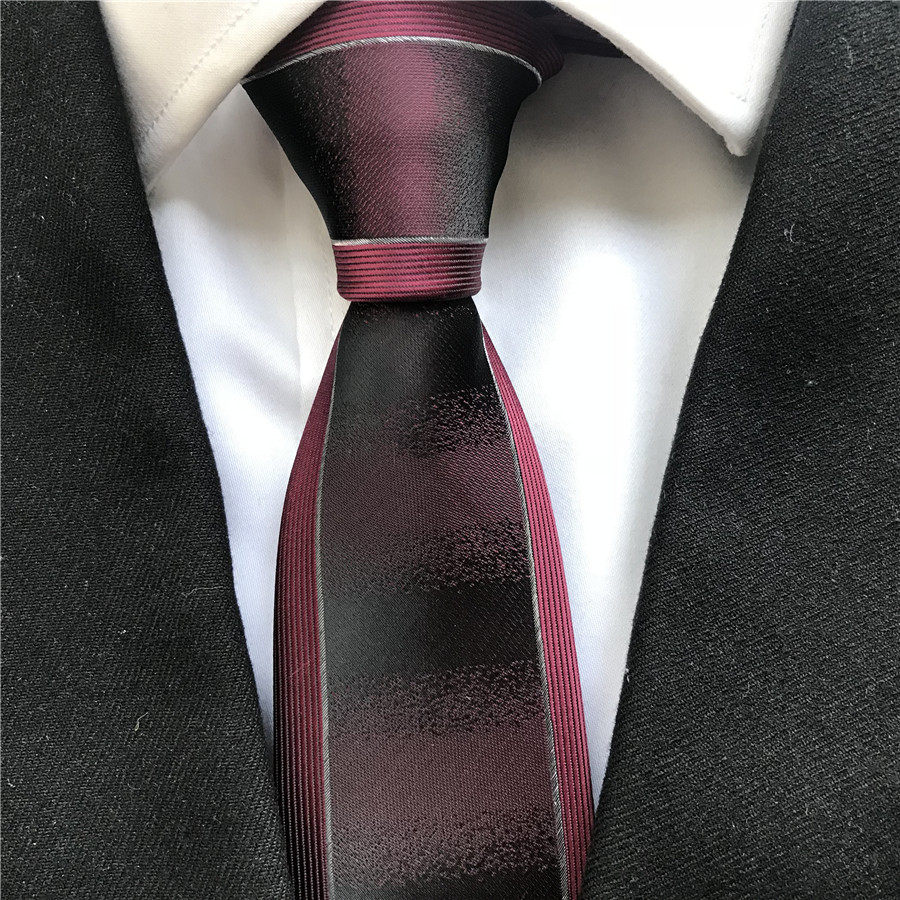 Unique Design Fashion Men's Skinny Slim Tie Burgundy Wine Color Necktie With Silver Border