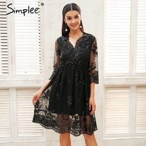Image 3 - Simplee v ネックロングスリーブスパンコールパーティードレス女性のセクシーなメッシュストリートミディドレス女性 2018 春黒のドレス vestido