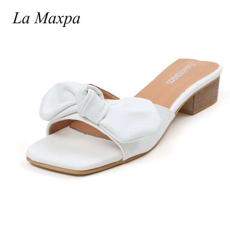 2018 Summer Bow Slipper Leather Ladies Sexy 4cm Heeled Slides Bow Slipper Beach Shoes Woman Zapatos mujer Leasure Yellow Shoes
