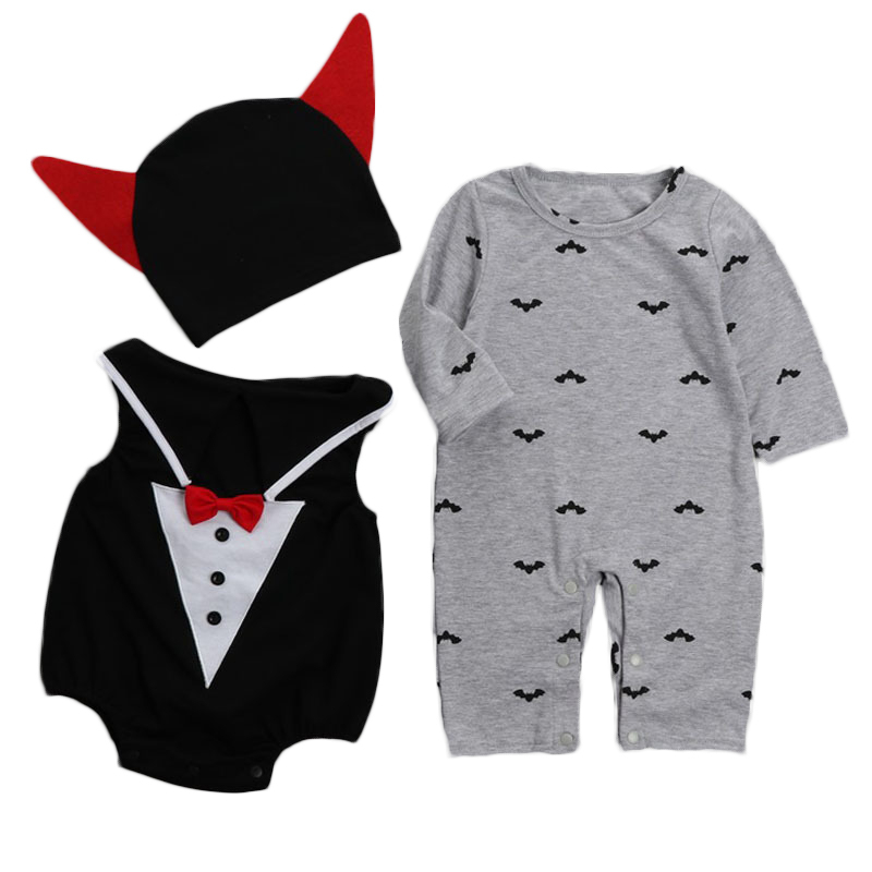 2017 halloween clothes sets baby rompers+vest+hats 3pcs vampire Newborn baby romper infant girl jumpsuit toddler boys outfits