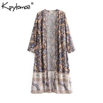 569c8982156aa Boho шикарное летнее винтажное кимоно с цветочным принтом для женщин 2019  Мода три четверти рукав свободные пляжные блузки рубашки Blusas Mujer