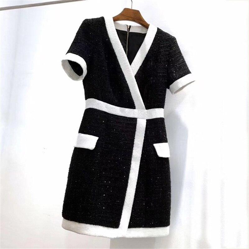 Élégante Courtes À Robe Col Genou Noir 2018 Manches V Longueur Femmes 0AvqTnfw