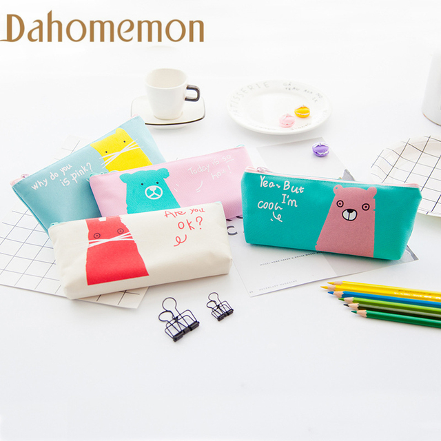 Korea Creative Animal Pencil Case Student Supplies Bts Stationery Gift School Cute Pen Box