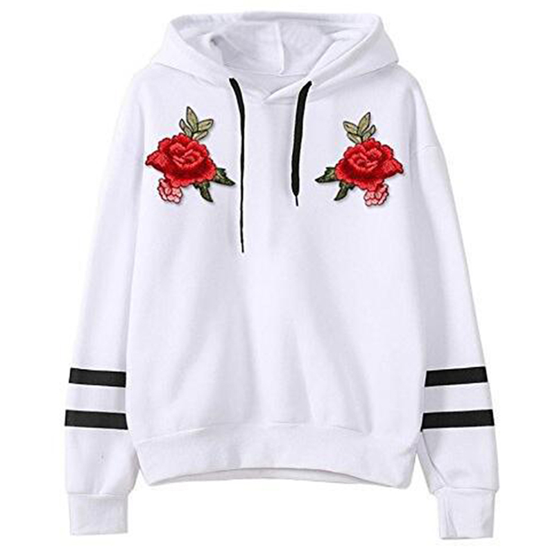 New Autumn Women Hoodies Red Rose Embroidery Long Sleeve Draw String Stripe Hooded Sweatshirt Pullover Woman Tracksuit DP903976