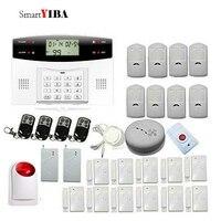 SmartYIBA GSM SMS Alarmes Kits Red Strobe Siren Alert Smoke Detector Shock Sensor Panic Button Alarm For Home Alarm System
