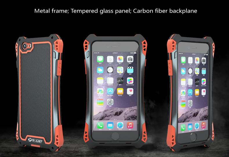 the best attitude 7e1fb d5184 US $22.9 |Amira 3 protector phone case for iphone 6 Plus New exclusive  extreme heavy duty outdoor cover case metal Carbon fiber RetailPack on ...