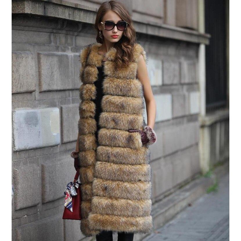 Faux Color Automne Veste Fausse Luxe brown Femmes Manteau ever Fourrure Femme Gilet Long grey En Tip With Hiver Chaud Fox Yd De XwzxTC6