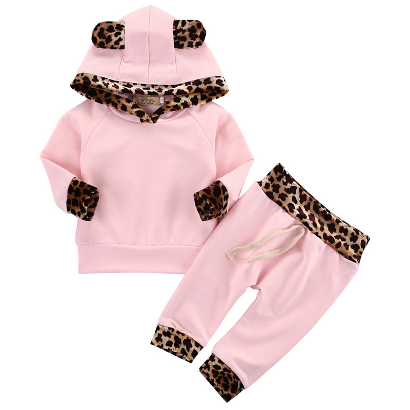 Cute Toddler Baby Boys Girls Spring Clothes Sets Long Sleeve Hooded Sweatshirt Tops+Long Pants Newborn Clothing Outfits