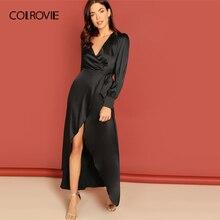 COLROVIE noir noeud surplis Wrap Split partie Maxi robe femmes vêtements 2019 printemps à manches longues taille haute robe dames robes