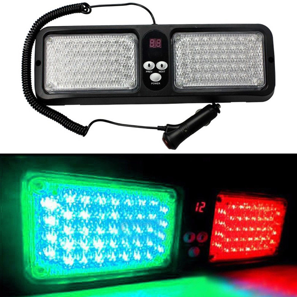 CYAN SOIL BAY Car 12 Modes 86 LED Emergency Warning Sun Visor Strobe Flashing Lights Green Red