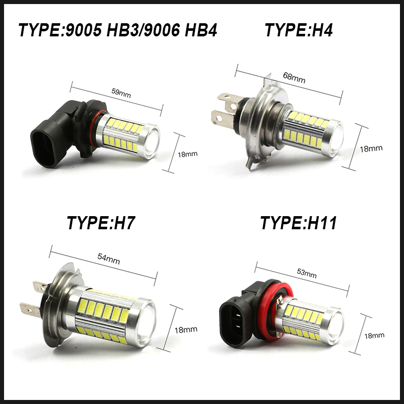 H11 H8 H4 9005 9006 H7 LED Light Bulb 5630 33 SMD Fog Driving DRL Lamp