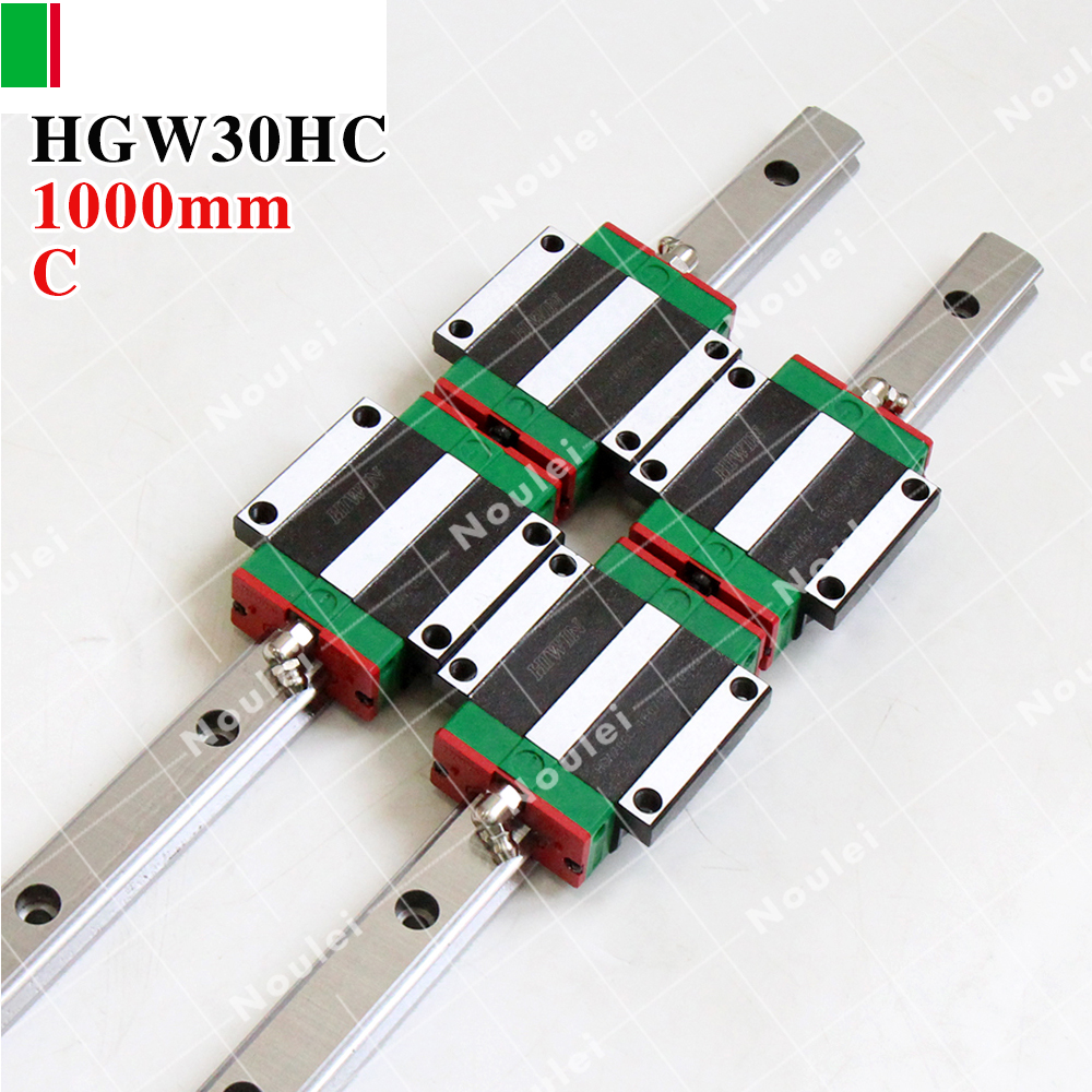 HIWIN HGW30HC Linear Guide Rail HGR30 1000mm with Blocks HGW30HA HGW30HC for cnc parts guias lineales cnc 30mm комплект ковриков в салон автомобиля novline autofamily ford fiesta 3d 2008 2011