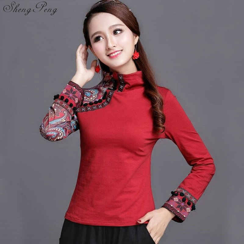 4a8db725762c20 Cheongsam Top Traditional Chinese Clothes For Women Long Sleeve Plus Size  4XL Shirt Cotton Vintage Clothing