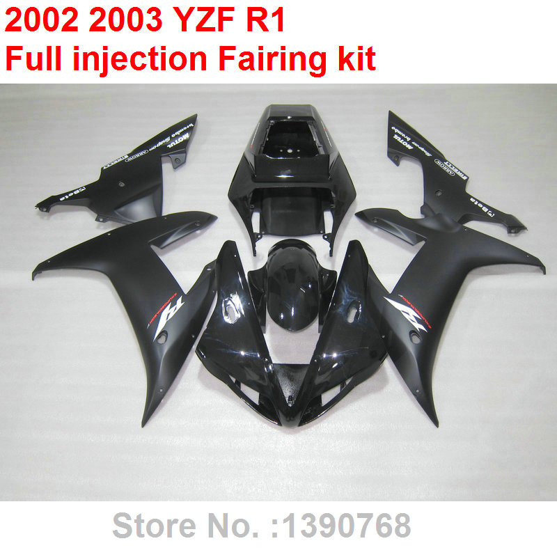 Hot sale <font><b>fairings</b></font> for <font><b>Yamaha</b></font> YZF <font><b>R1</b></font> 2002 <font><b>2003</b></font> black <font><b>fairing</b></font> kit YZFR1 02 03 BV32 image