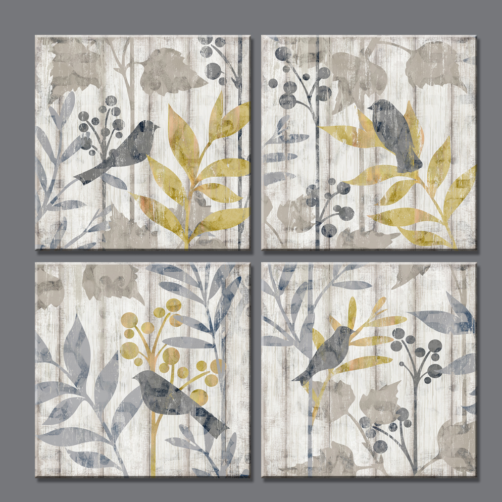 4 piece Freedom song bird Wood textures art print canvas on the wall pictures for living room vintage home decor Unframed
