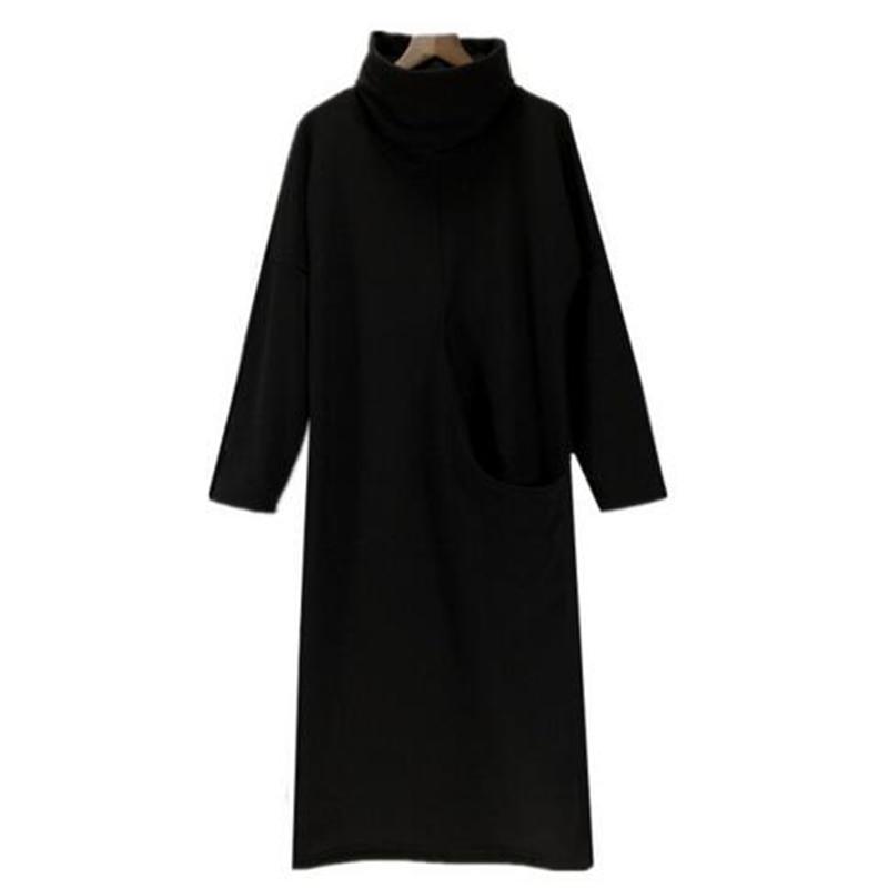Dresses Plus Size S-5xl/6xl 2019 Autumn Women Velvet Dress With Big Pocket,fashion Turtleneck Velour Long Sleeve Solid Color Lady Vestid A Great Variety Of Goods