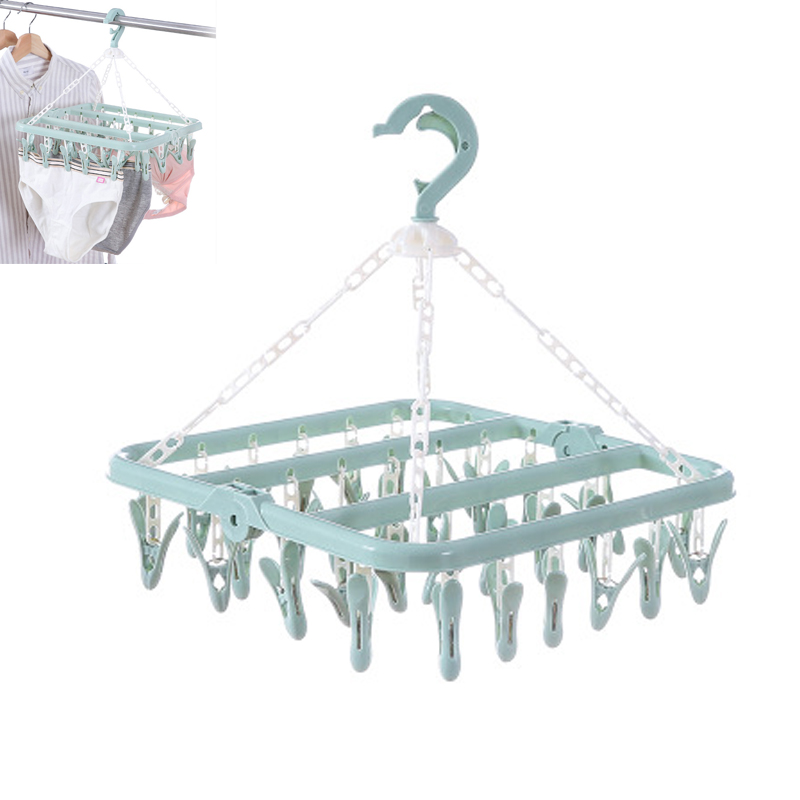 Folding Clothes Towels Hanger Socks Underwear Drying Rack With 32 Clips G