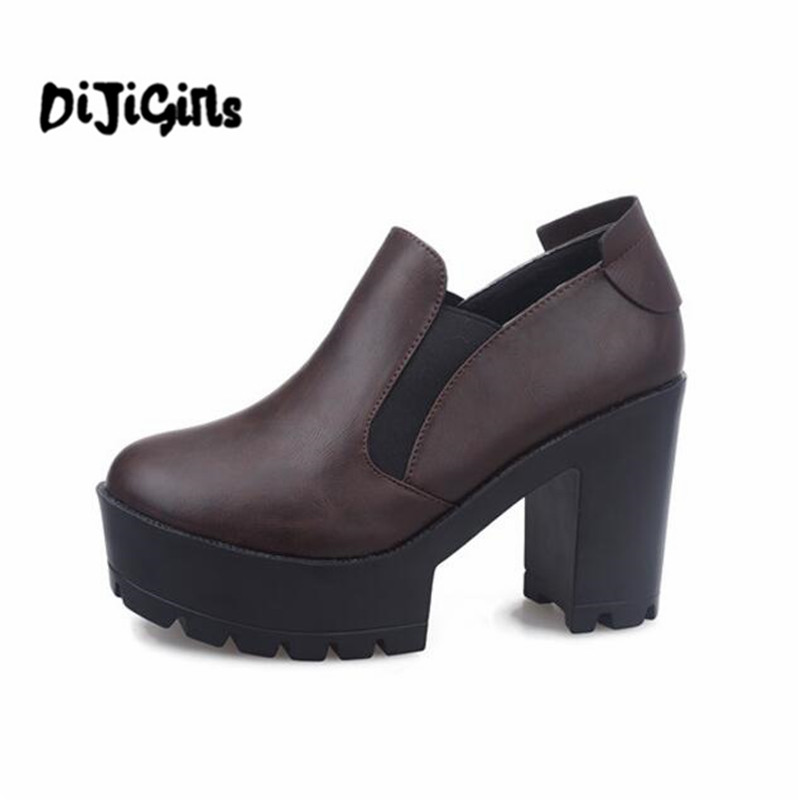 winter fashion thick heel platform high-heeled shoes platform boots round toe elastic strap HARAJUKU vintage ankle boots  stabila 183 см тип 196 2