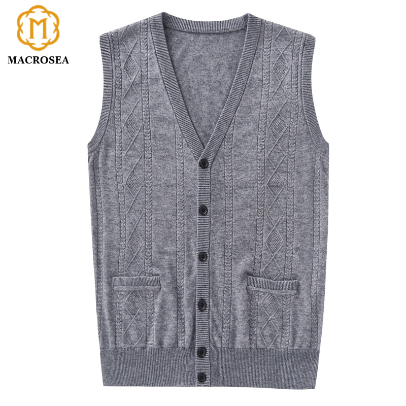 MACROSEA England Style Design Men's Casual Wool Vest Cardigan Men Sleeveless Argyle Pattern Vest Sweater V-Neck Vest 9066