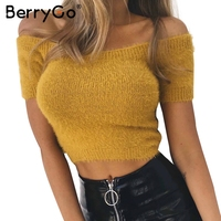 BerryGo Off Shoulder Sexy Knitting Top Tees Cropped Women Short Sleeve Crop Tops Women Jumper 2017
