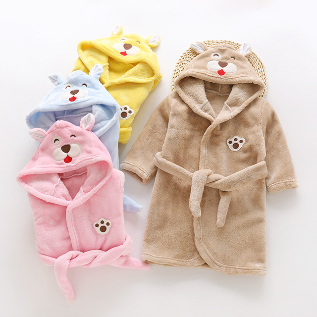 Automne hiver vêtement de nuit pour enfants Robe flanelle à capuche peignoir chaud enfants pyjamas pour garçons et filles belle bande dessinée animaux Robes