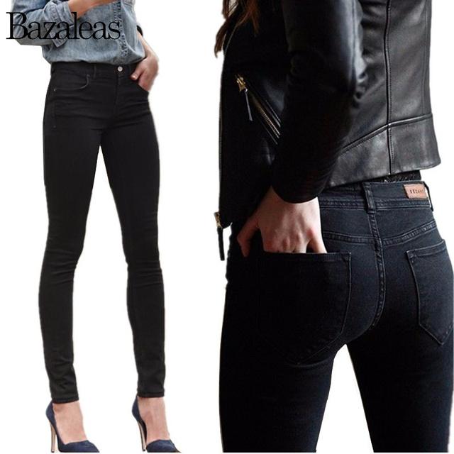 2017 Otoño Primavera Medio Cintura Mujeres hip-elevación Jeans Flaco Stretch Pantalones Lápiz Negro Novio Más El tamaño de Mezclilla Ocasional pantalones